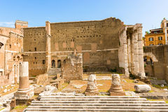 Forum of Augustus in Rome, Italy. The Forum of Augustus is one of the Imperial forums of Rome, Italy, built by Augustus. It includes the Temple of Mars Ultor stock image