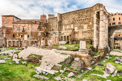 Forum of Augustus, ruins in via dei Fori Imperiali, Rome Royalty Free Stock Images