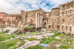 Forum of Augustus, ruins in via dei Fori Imperiali, Rome Royalty Free Stock Photo