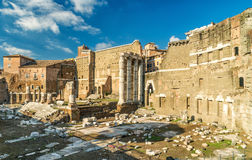 Forum of Augustus with the temple of Mars Ultor in Rome Stock Image