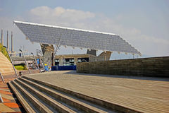 Forum Beach and solar panels Stock Image