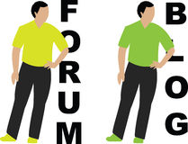 Forum and blog. A forum and blog sign style Stock Images
