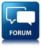 Forum blue square button. Forum isolated on blue square button reflected abstract illustration Stock Images