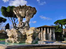 Forum Boarum in Rome. A fountain and a small Roman temple on Forum Boarum in Rome, Italy Stock Images