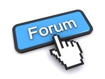 Forum button. Cursor clicking on the forum button (3d render&#x29 Stock Photos