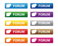 Forum buttons. Set of forum buttons in various colors Stock Photography