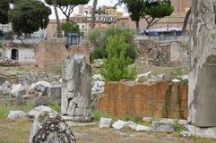 Roman Forum. Forum of Caesar:remnants of columns Stock Photos