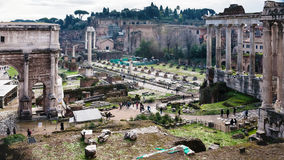 Forum of Caesar on Roman Forums in Rome in winter Stock Photography