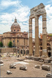 Forum of Caesar. Ruins Caesar Forum in The Ancient Part of Roma Royalty Free Stock Photo