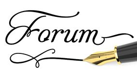 Forum card. Word Forum written with fountain pen Royalty Free Stock Images