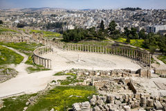 Forum and Colonnade Street in Jerash, Jordan Stock Images