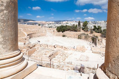Forum  and Colonnade Street in Jerash, Jordan Stock Images
