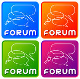 Forum. Colorful forum buttons with speech balloons Royalty Free Stock Photo