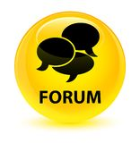 Forum (comments icon) glassy yellow round button Stock Photography
