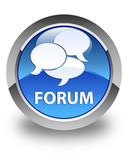 Forum (comments icon) glossy blue round button Stock Images