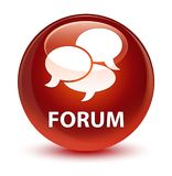 Forum (comments icon) glassy brown round button Royalty Free Stock Photography