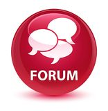 Forum (comments icon) glassy pink round button Stock Image