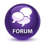 Forum (comments icon) glassy purple round button. Forum (comments icon) isolated on glassy purple round button abstract illustration Royalty Free Stock Image