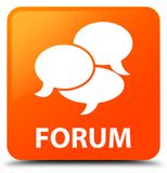 Forum (comments icon) orange square button Royalty Free Stock Image