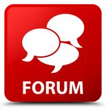 Forum (comments icon) red square button Stock Images