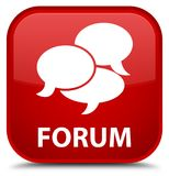 Forum (comments icon) special red square button Royalty Free Stock Image