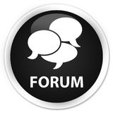 Forum (comments icon) premium black round button. Forum (comments icon) isolated on premium black round button abstract illustration Stock Photo
