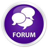 Forum (comments icon) premium purple round button. Forum (comments icon) isolated on premium purple round button abstract illustration Royalty Free Stock Photography