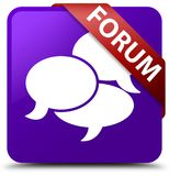Forum (comments icon) purple square button red ribbon in corner Stock Images