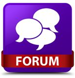 Forum (comments icon) purple square button red ribbon in middle. Forum (comments icon) isolated on purple square button with red ribbon in middle abstract Stock Image