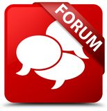Forum (comments icon) red square button red ribbon in corner. Forum (comments icon) isolated on red square button with red ribbon in corner abstract illustration Royalty Free Stock Photography