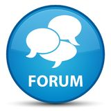 Forum (comments icon) special cyan blue round button. Forum (comments icon) isolated on special cyan blue round button abstract illustration Royalty Free Stock Images