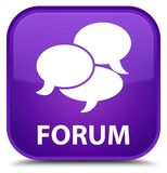 Forum (comments icon) special purple square button Stock Images