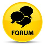 Forum (comments icon) special yellow round button. Forum (comments icon) isolated on special yellow round button abstract illustration Royalty Free Stock Photography