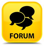 Forum (comments icon) special yellow square button Stock Photo