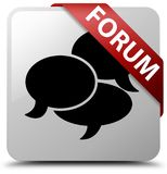 Forum (comments icon) white square button red ribbon in corner Royalty Free Stock Photo
