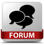 Forum (comments icon) white square button red ribbon in middle Royalty Free Stock Image