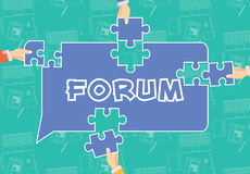 Forum Conceptual Illustration. Blue forum dialog box with the four hands around. Hands keep puzzles to complete dialog box Royalty Free Stock Image