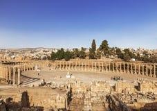 Forum dans la ville romaine antique de Gerasa, Jerash Photographie stock libre de droits