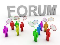 Forum discussing people. Group of talking people in front of word forum Royalty Free Stock Photo