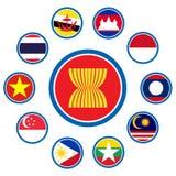 Forum för ekonomisk gemenskap för ASEAN, AEC-näringsliv, for närvarande design in Royaltyfri Foto