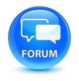 Forum glassy cyan blue round button. Forum isolated on glassy cyan blue round button abstract illustration Stock Photos