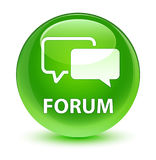 Forum glassy green round button. Forum isolated on glassy green round button abstract illustration Stock Photography