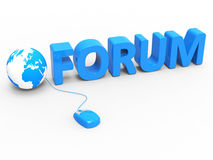Forum Global Represents World Wide Web And Chat Stock Photography
