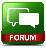 Forum green square button red ribbon in middle. Forum isolated on green square button with red ribbon in middle abstract illustration Stock Photos