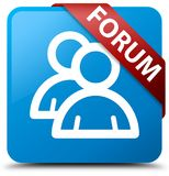 Forum (group icon) cyan blue square button red ribbon in corner Royalty Free Stock Images