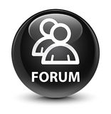 Forum (group icon) glassy black round button Stock Photography