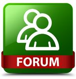 Forum (group icon) green square button red ribbon in middle. Forum (group icon) isolated on green square button with red ribbon in middle abstract illustration Stock Images