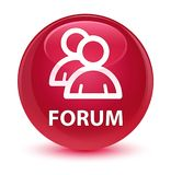 Forum (group icon) glassy pink round button Royalty Free Stock Photos