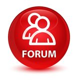 Forum (group icon) glassy red round button Royalty Free Stock Images