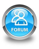 Forum (group icon) glossy cyan blue round button. Forum (group icon) isolated on glossy cyan blue round button abstract illustration Royalty Free Stock Image